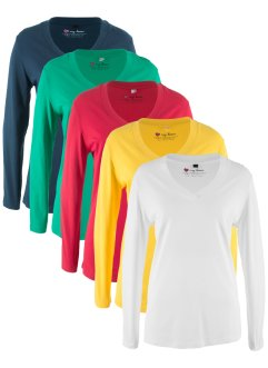 V-Longshirt mit langem Arm (5er-Pack), bpc bonprix collection