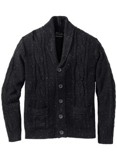 Strickjacke mit Schalkragen und Effektgarn Regular Fit, bpc selection