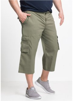 3/4 Stretch-Cargohose mit Rippbund Regular Fit, bpc bonprix collection