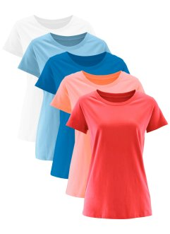 Rundhals-Longshirt (5er-Pack), Kurzarm, bpc bonprix collection