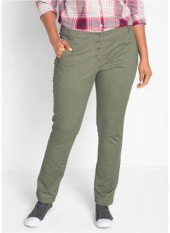 Pantalon en coton extensible avec patte de boutonnage, bpc bonprix collection