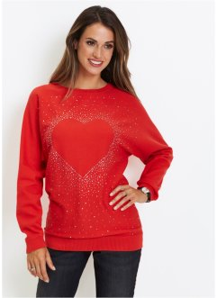 Longpullover mit Herz-Dekostein-Applikation, bpc selection
