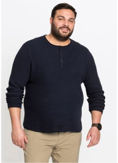 Rundhals-Strickpullover mit Knopfleiste, bpc bonprix collection