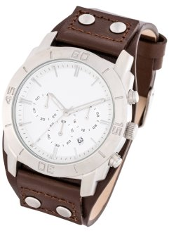 Herrenuhr mit Funktion und Lederarmband, bpc bonprix collection