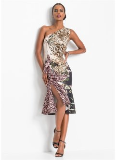 One-Shoulder-Kleid mit Leo-Print, BODYFLIRT boutique