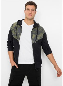 Gilet sweat à capuche avec empiècement camouflage, RAINBOW