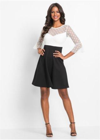 Netz Einsatz BODYFLIRT boutique schwarzweiss mit bonprix ch Kleid 6b7gyf