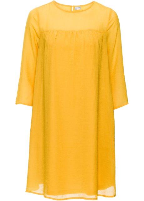 6bfa1d800d8a Locker geschnittenes Chiffon-Kleid mit Rundhalsausschnitt - safrangelb