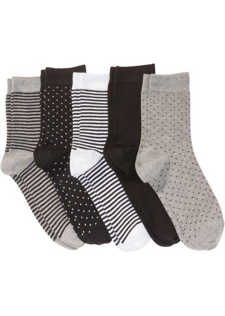 Lot de 5 paires de chaussettes femme noir blanc gris chiné à motif ... 6b082a4bee59