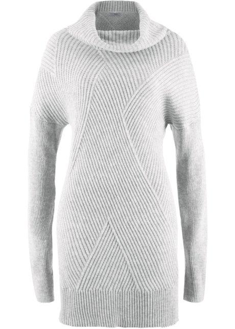 Sonderangebot ungleich in der Leistung strukturelle Behinderungen Gestrickter Long-Pullover mit Rollkragen und originellem Musterverlauf
