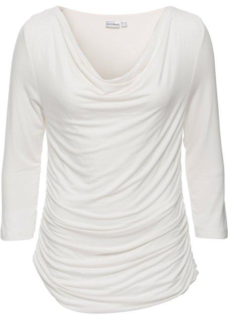 05e6bfa7ea67 Stilvoll drapiertes Wasserfall-Shirt mit 3 4-Ärmeln - wollweiss