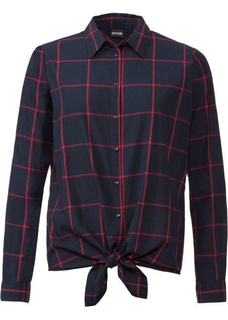 Verkaufsförderung Premium-Auswahl ästhetisches Aussehen Attraktive Bluse mit Karomuster und Knotendetail am Saum