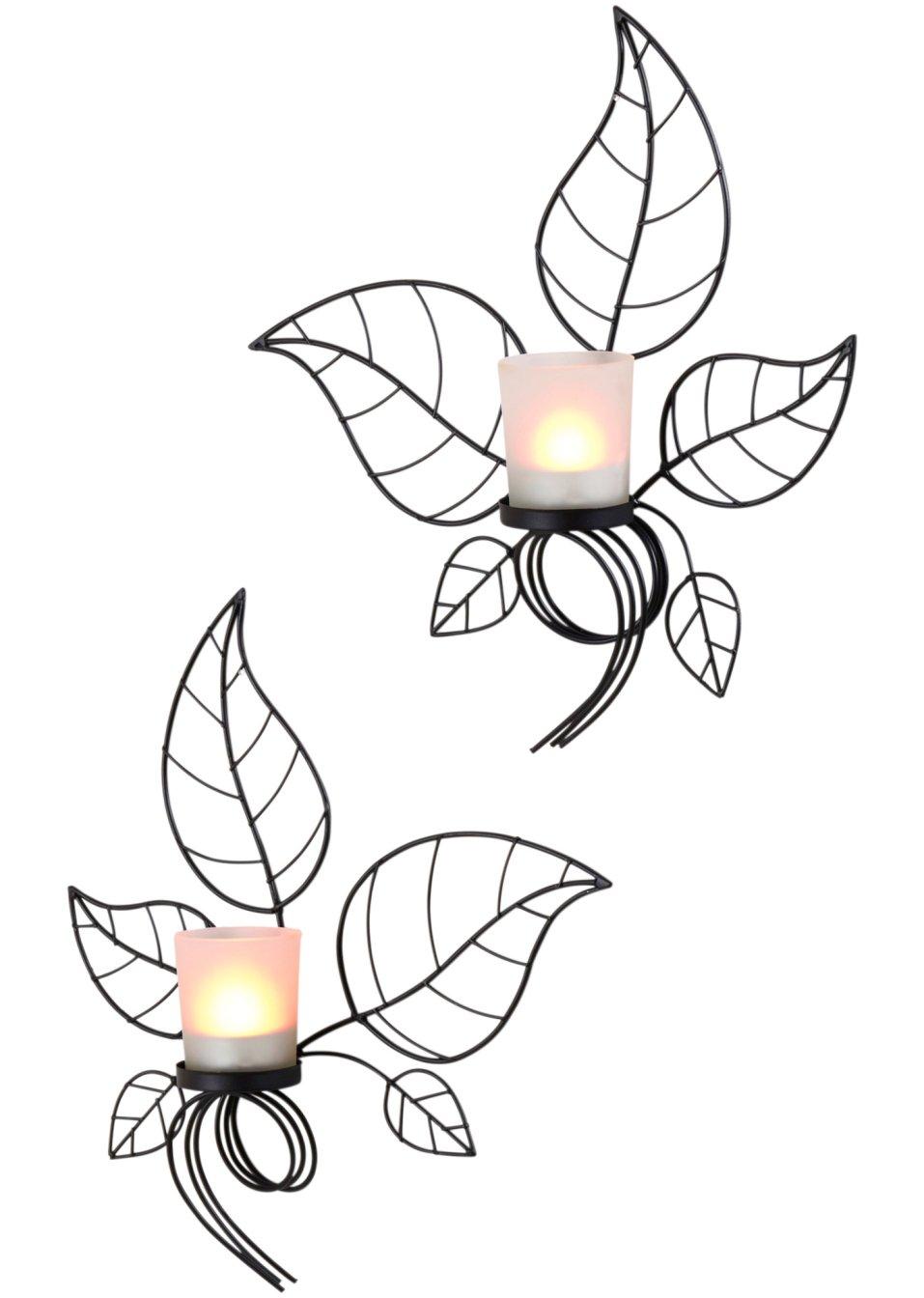 Schm ckt jeden raum wandkerzenhalter blatt schwarz - Wandkerzenhalter schwarz ...