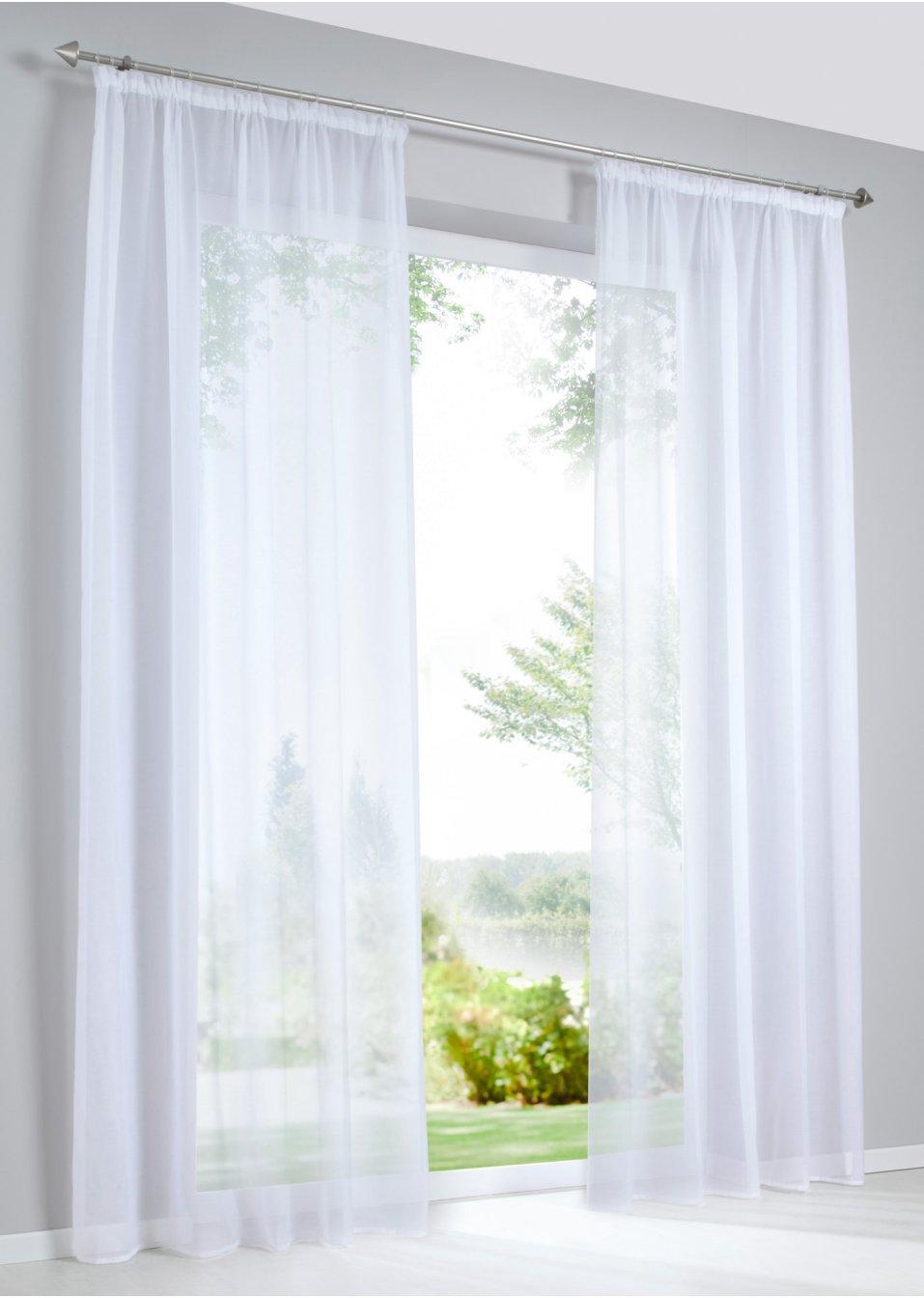 gardine batist 1er pack weiss bpc living online bestellen. Black Bedroom Furniture Sets. Home Design Ideas