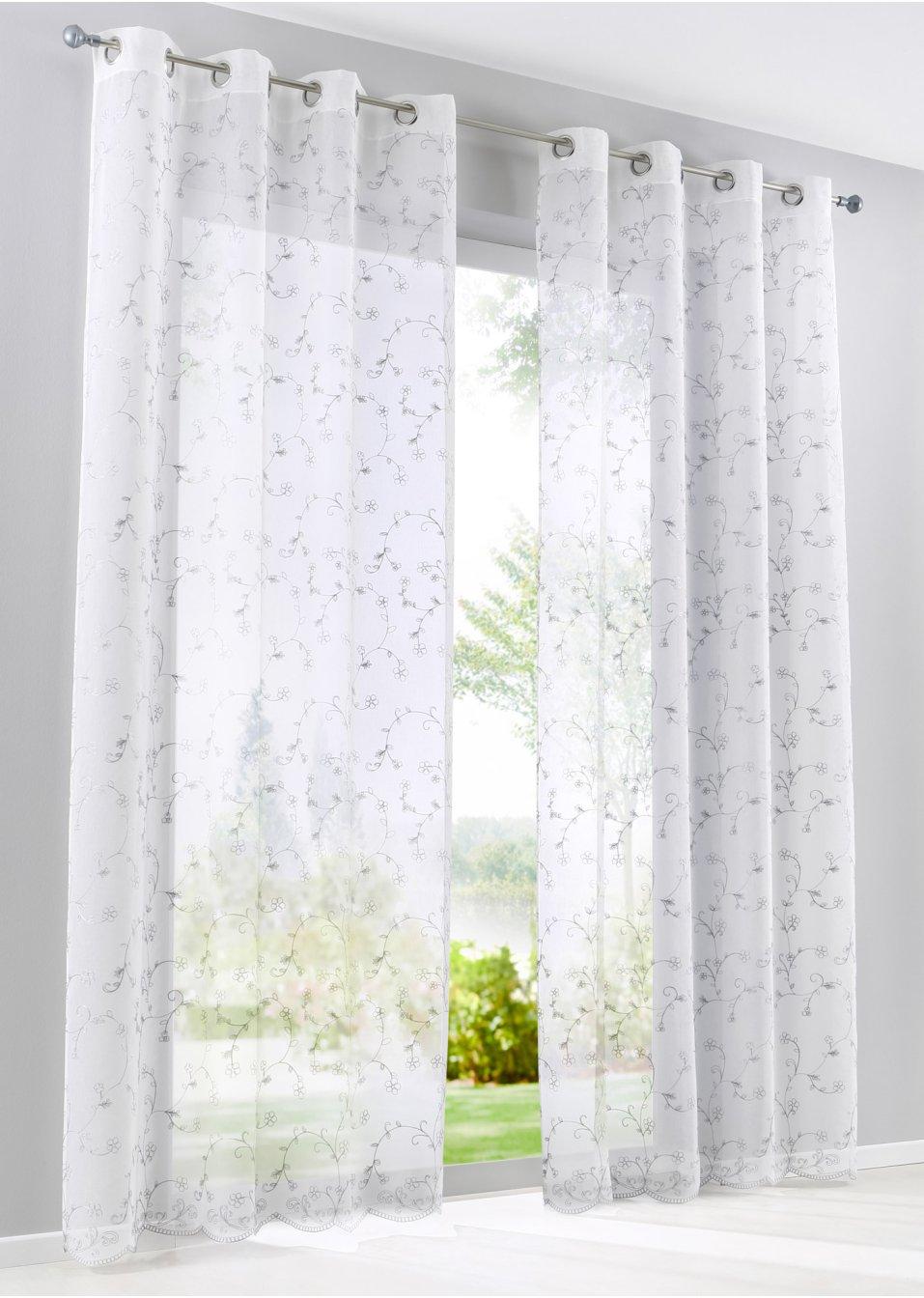 gardine yara 1er pack weiss grau bpc living. Black Bedroom Furniture Sets. Home Design Ideas