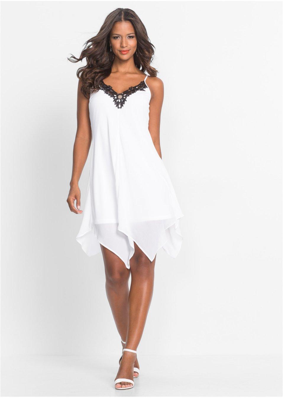 Neu Kleid mit Spitze und asymmetrischem Saum 932975 in Weiß//Schwarz 40