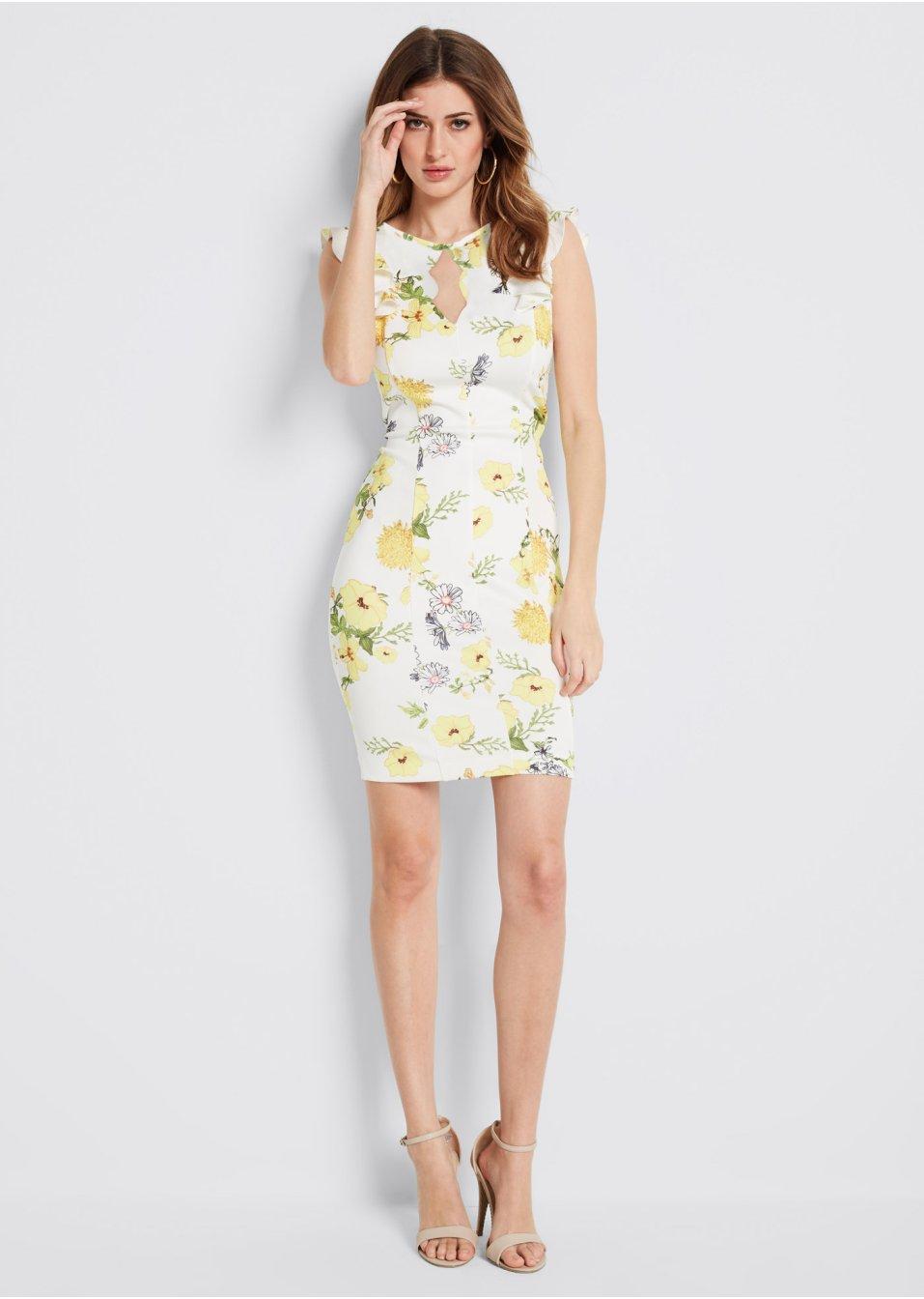 Kleid mit Blumenprint weiss/gelb/grün geblümt - BODYFLIRT ...