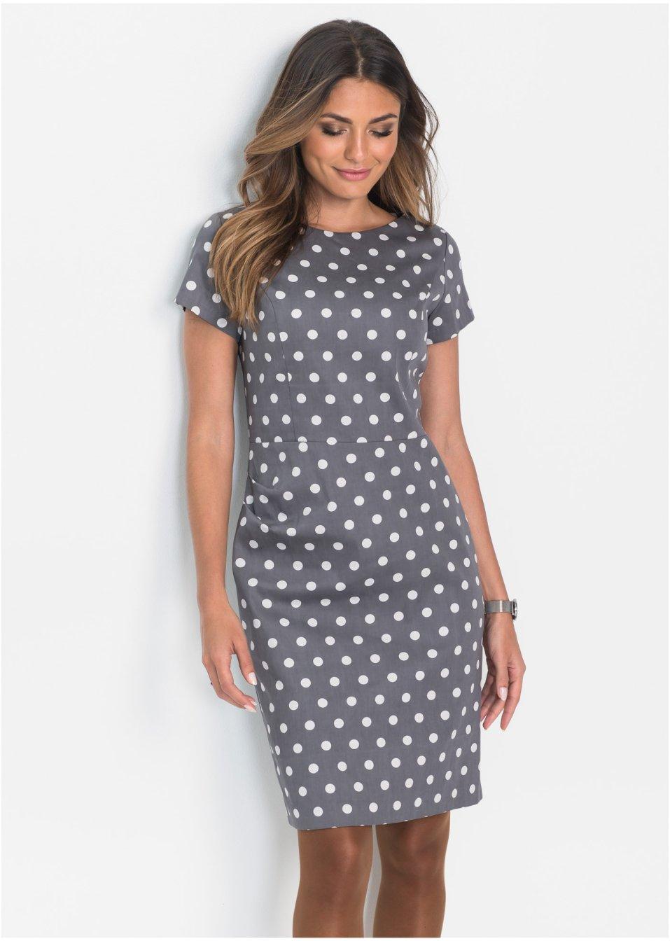 Kleid grau/weiss gepunktet - Damen - - bonprix.ch