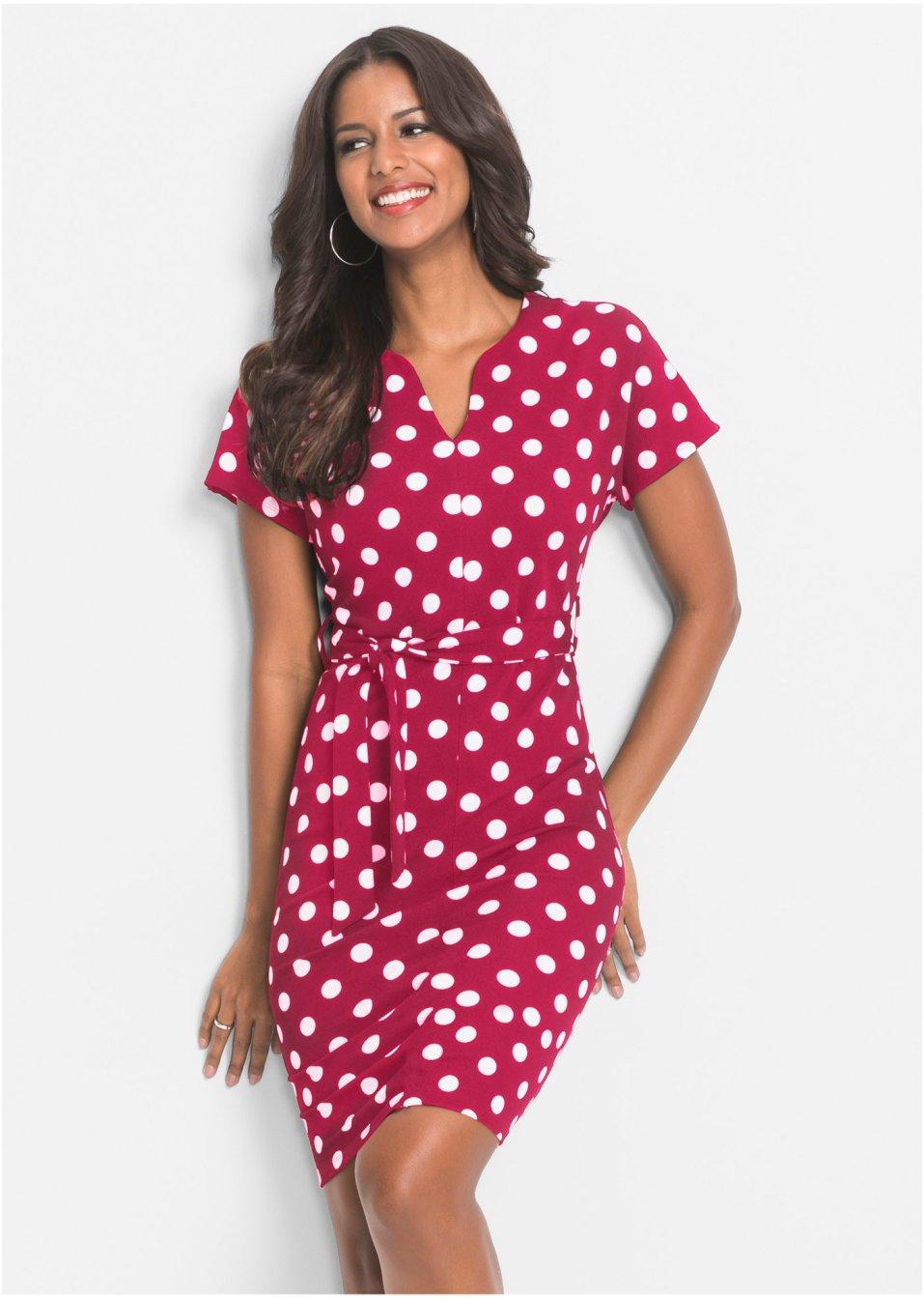 Kleid mit Punkten magenta/weiss - Damen - bonprix.ch