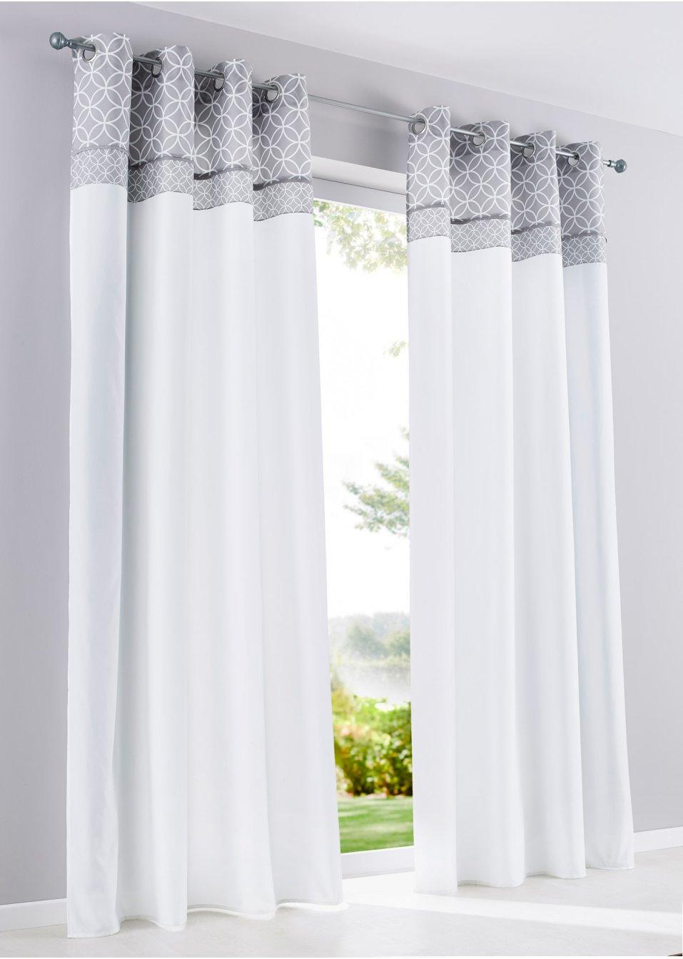 vorhang davina 1er pack weiss grau bpc living online bestellen. Black Bedroom Furniture Sets. Home Design Ideas