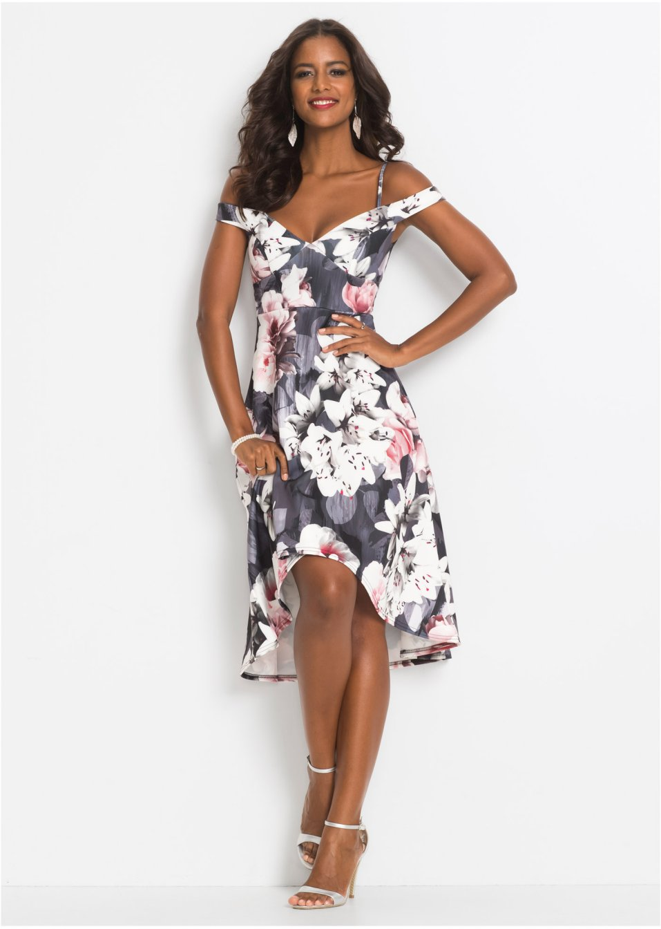 Kleid mit Blumenprint schwarz/grau/rosa - BODYFLIRT