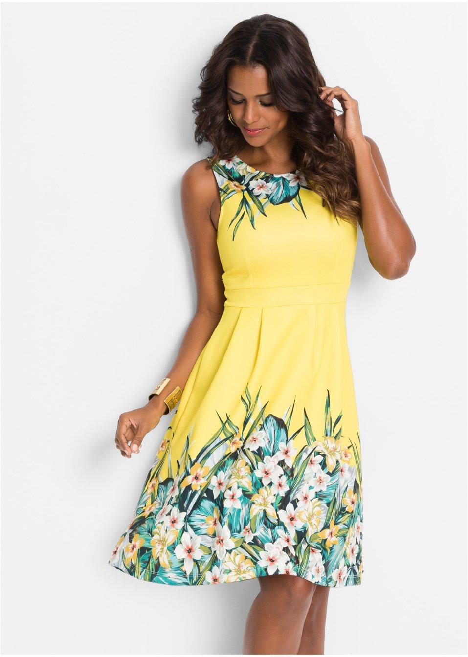 Kleid mit Blumenprint gelb/grün geblümt - BODYFLIRT ...