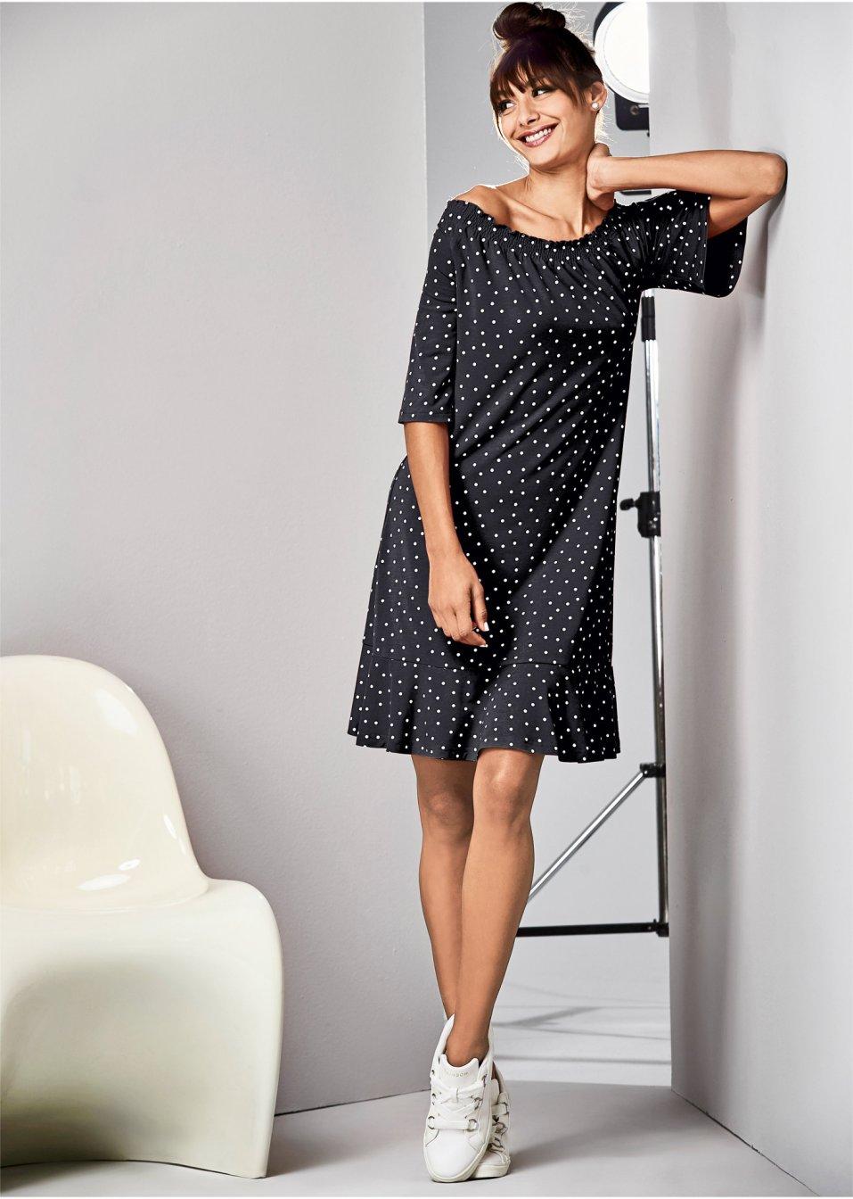 Jersey Carmen-Kleid schwarz/weiss gepunktet - RAINBOW ...