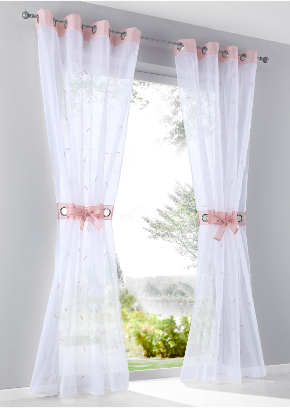gardine jana 1er pack weiss rosa bpc living online bestellen. Black Bedroom Furniture Sets. Home Design Ideas