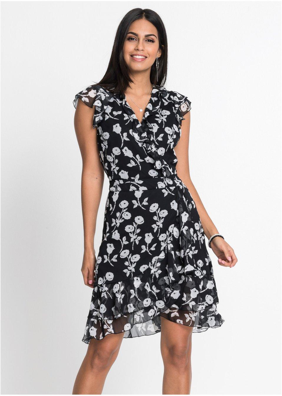 Kleid schwarz/weiss bedruckt - Damen - bonprix.ch