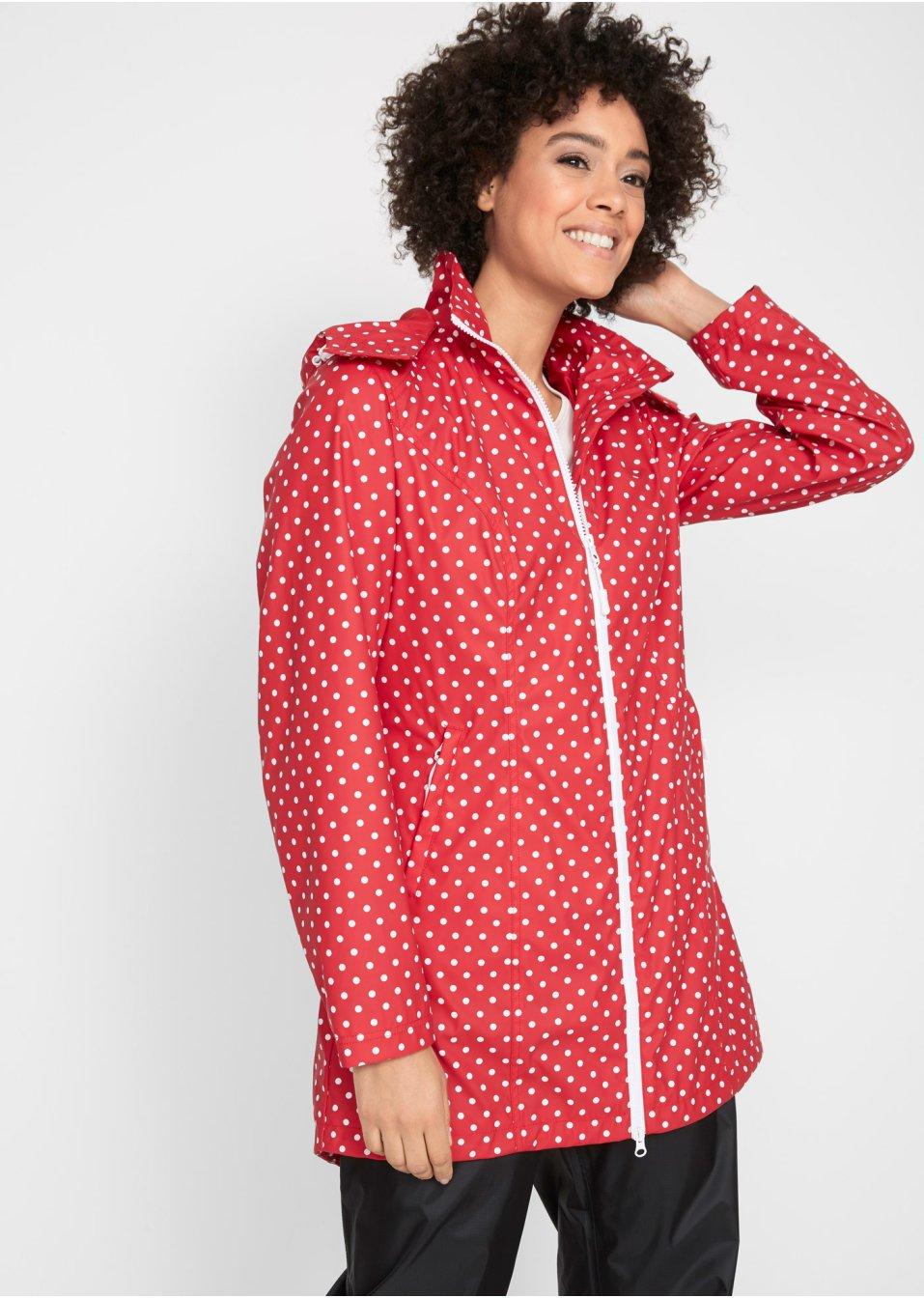 manteau long imperm able rouge blanc pois femme bpc. Black Bedroom Furniture Sets. Home Design Ideas