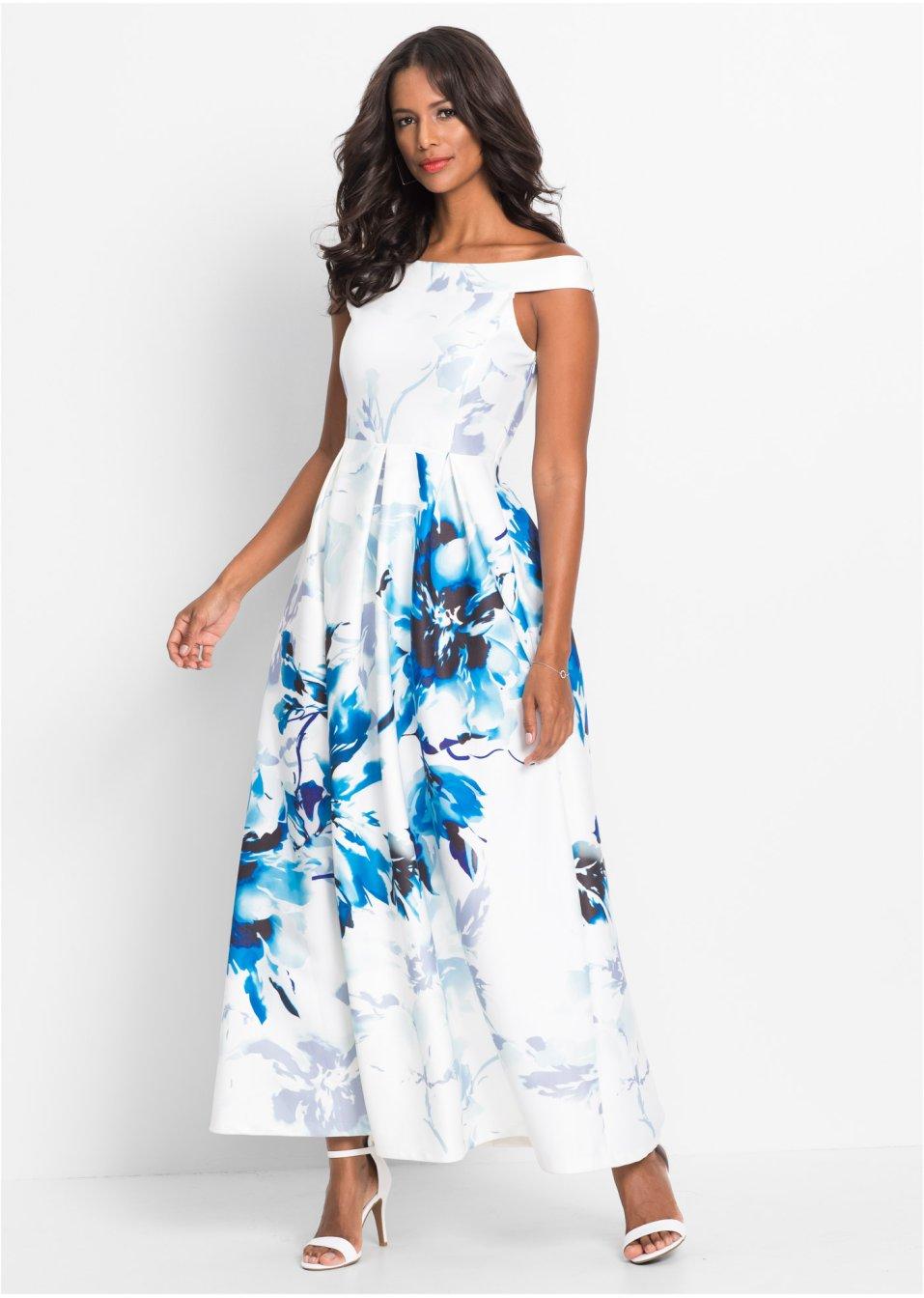 Langes Kleid mit Carmen-Ausschnitt - weiss/blau geblümt