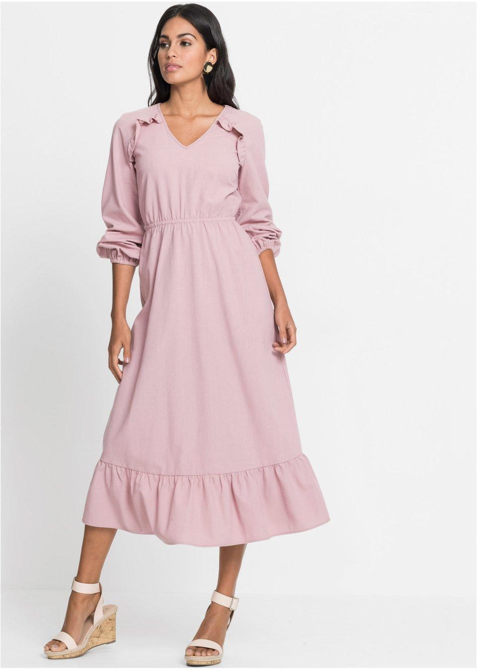 Volant-Kleid mit Leinen-Anteil