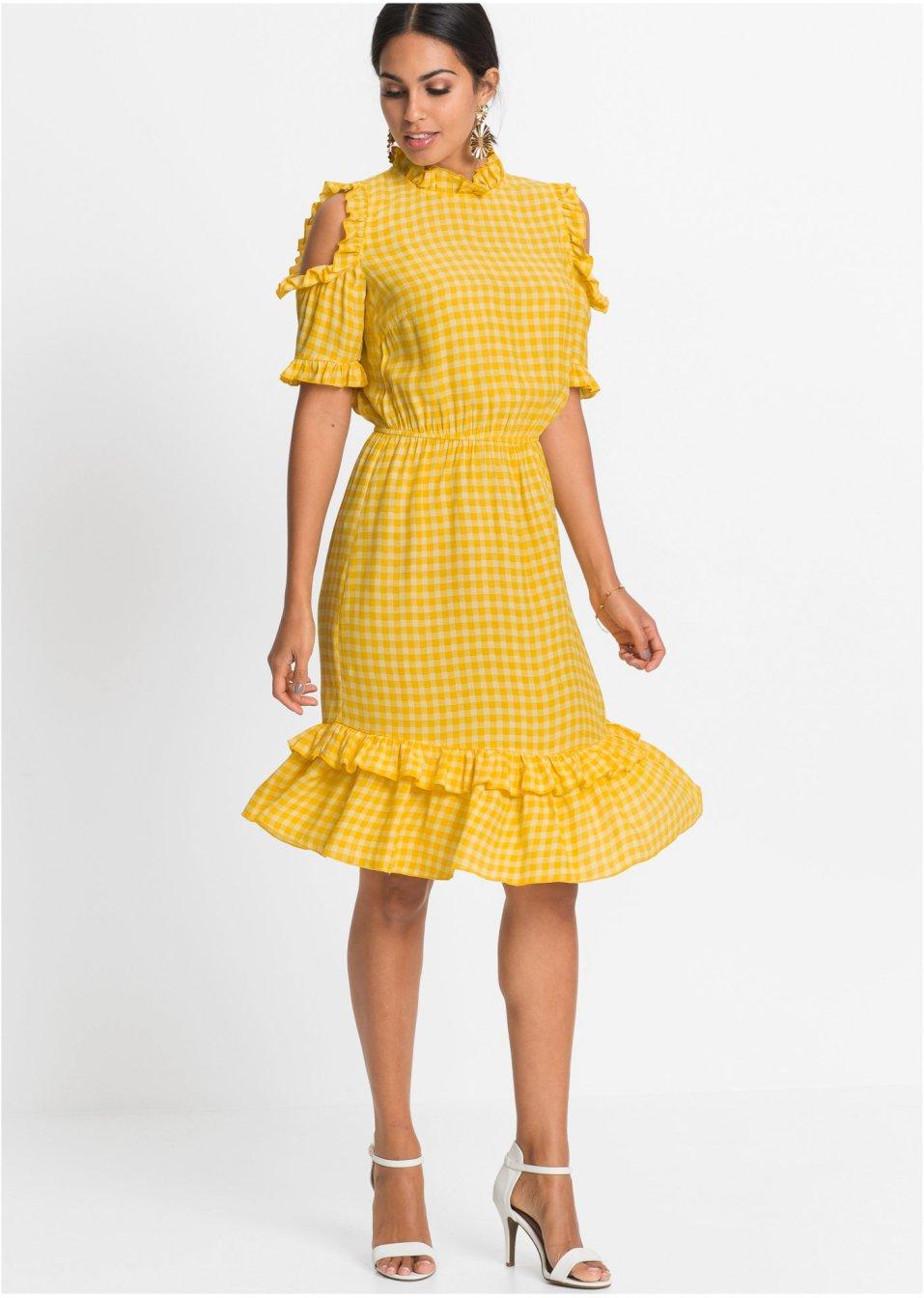 Cold-Shoulder-Kleid gelb/vanille - BODYFLIRT online ...