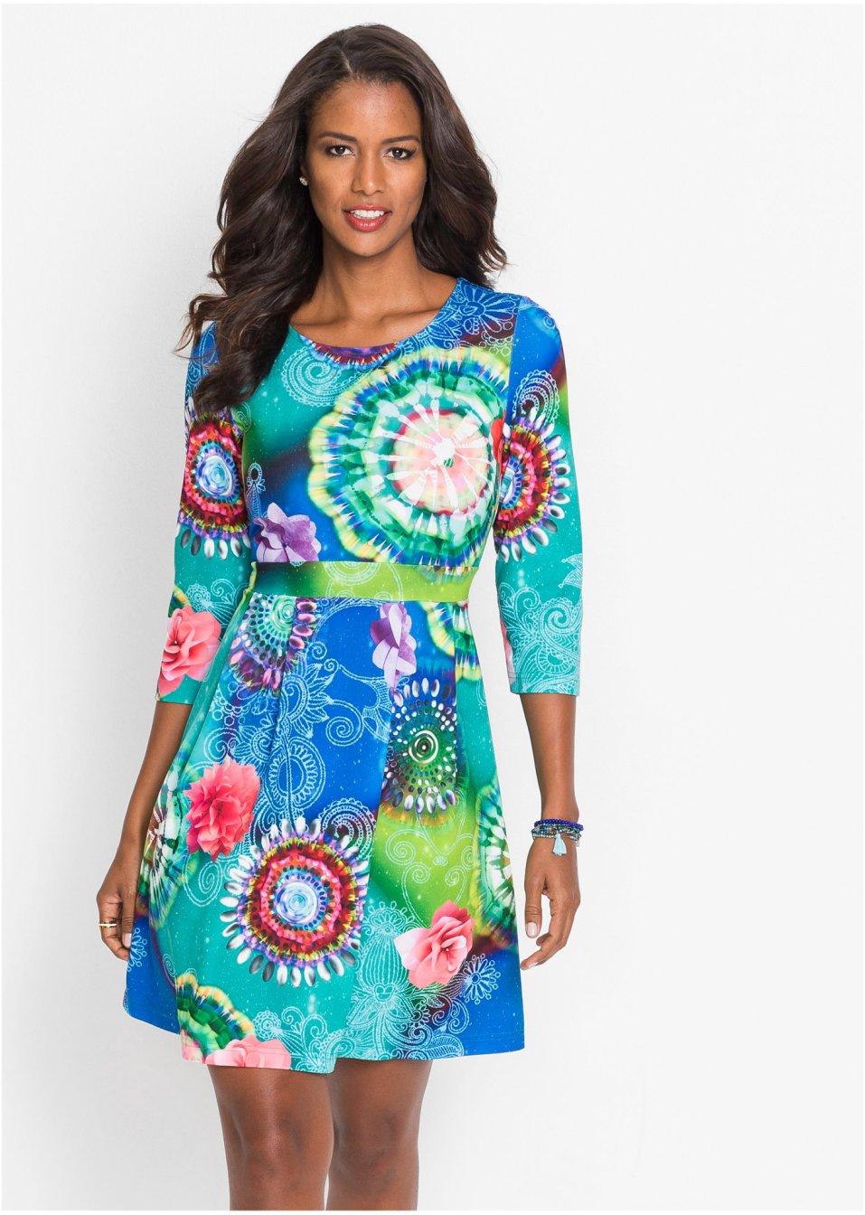 Kleid mit bunten Muster blau/grün - BODYFLIRT boutique ...