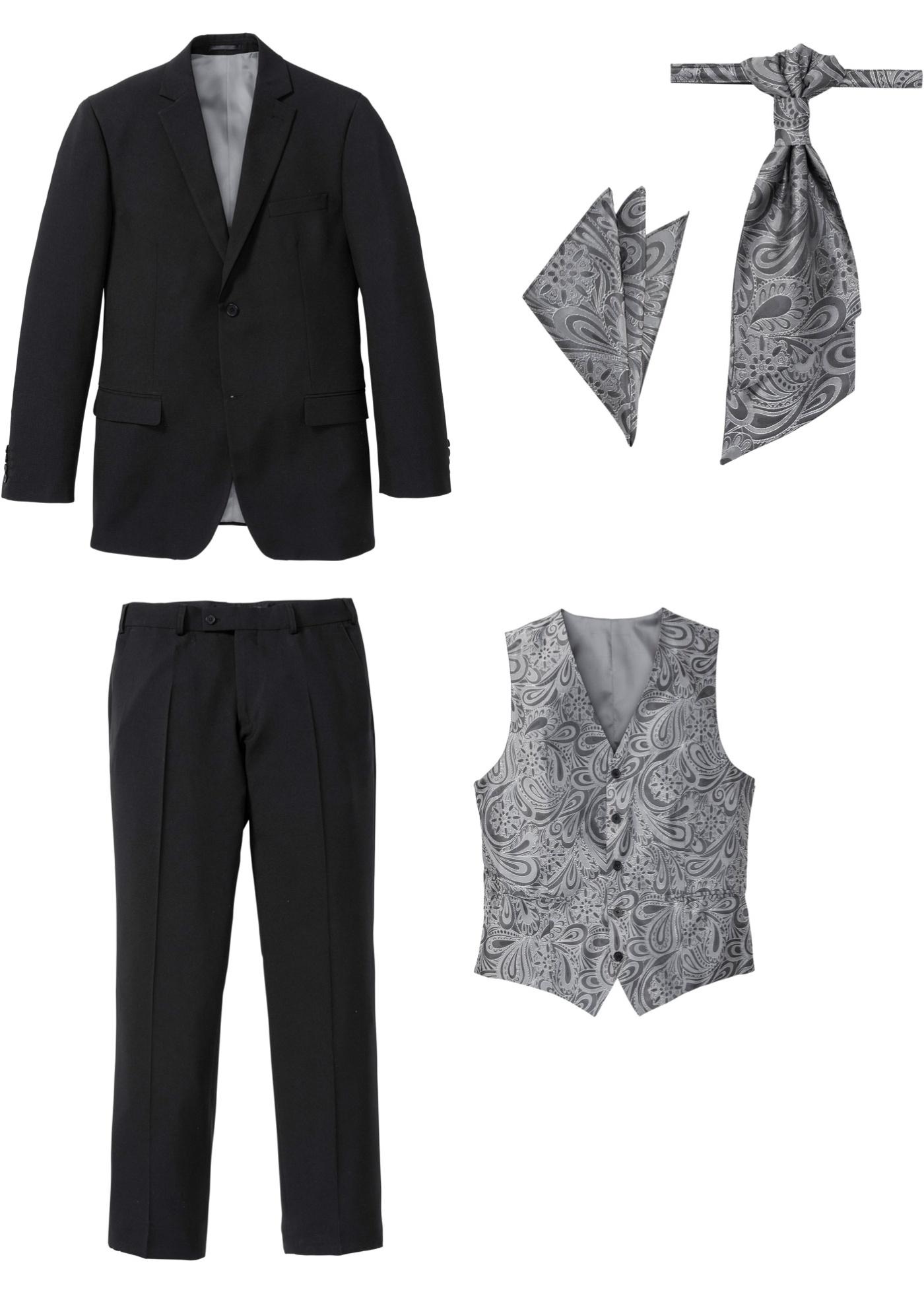 Image of Anzug (5-tlg. Set): Sakko, Hose, Weste, Plastron, Einstecktu