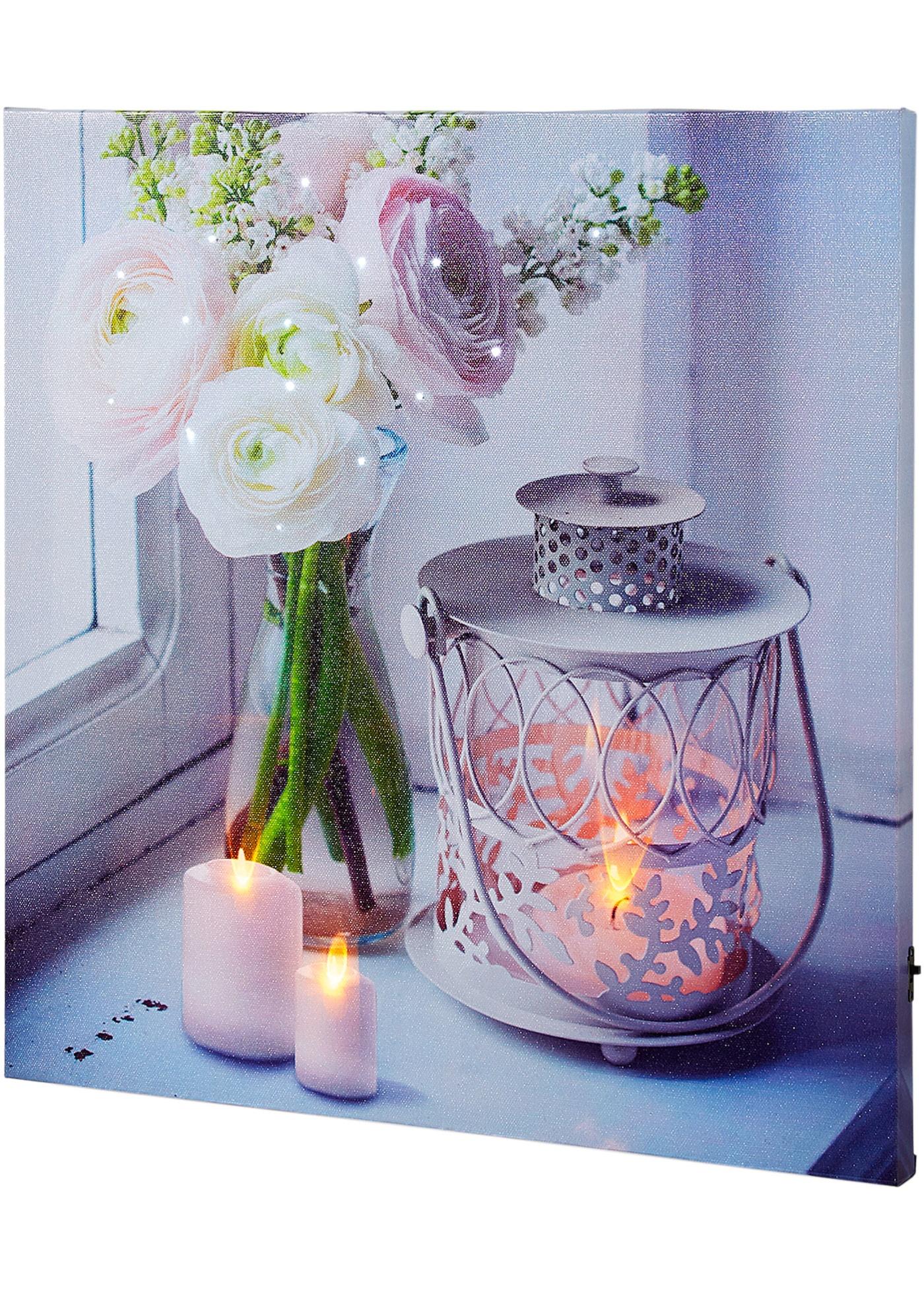 LED Leinwandbild Kerzen & Traumblüte