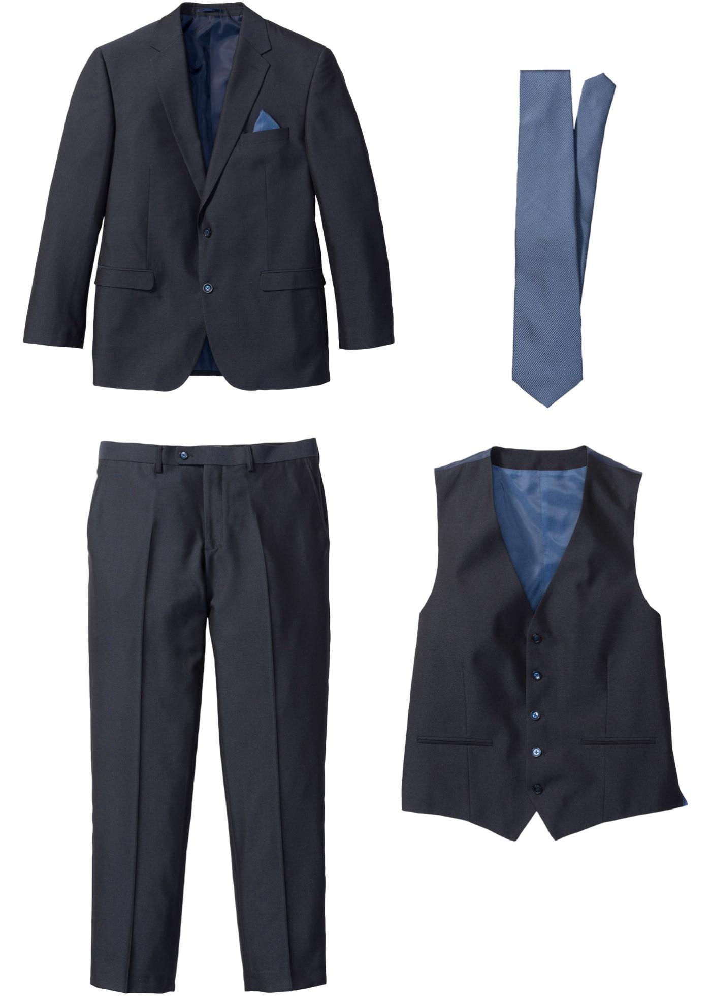 Image of Anzug (4-tlg. Set): Sakko, Hose, Weste, Krawatte