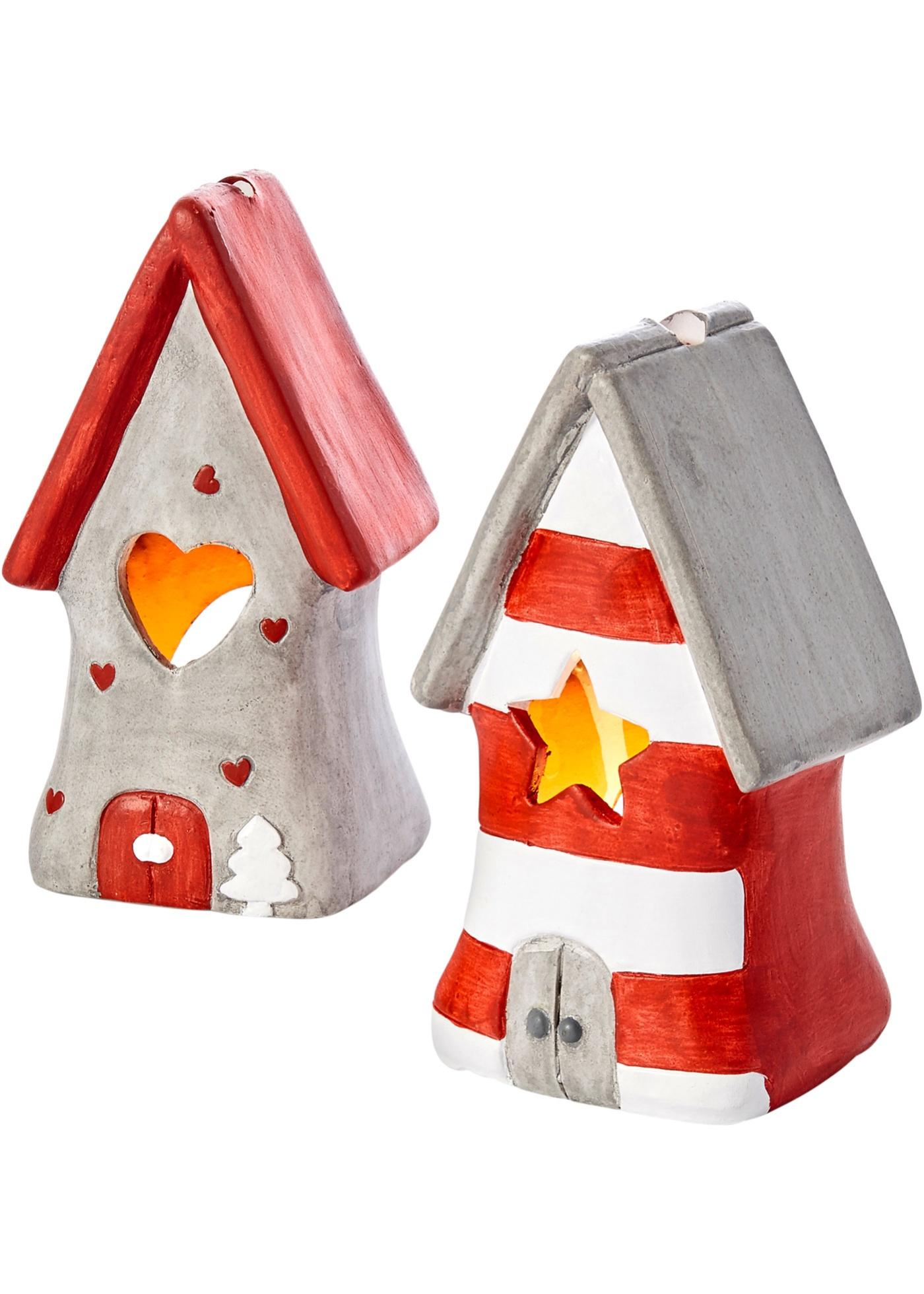 Windlicht Santa-Haus 2-tlg. Set