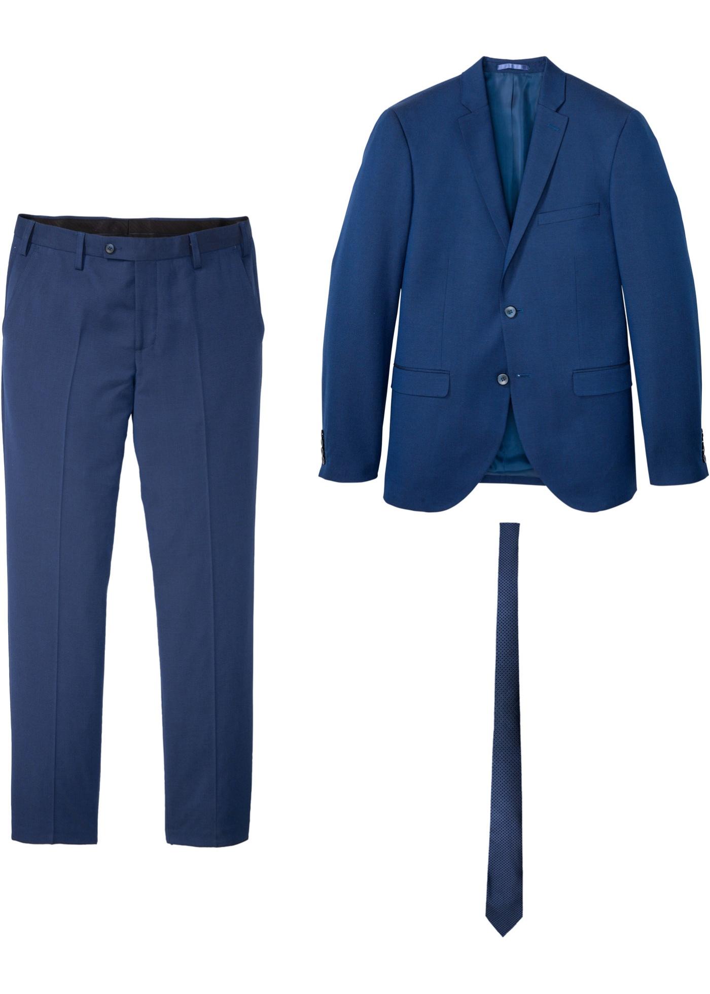 Image of Anzug (3-tlg.Set): Sakko, Hose, Krawatte Slim Fit
