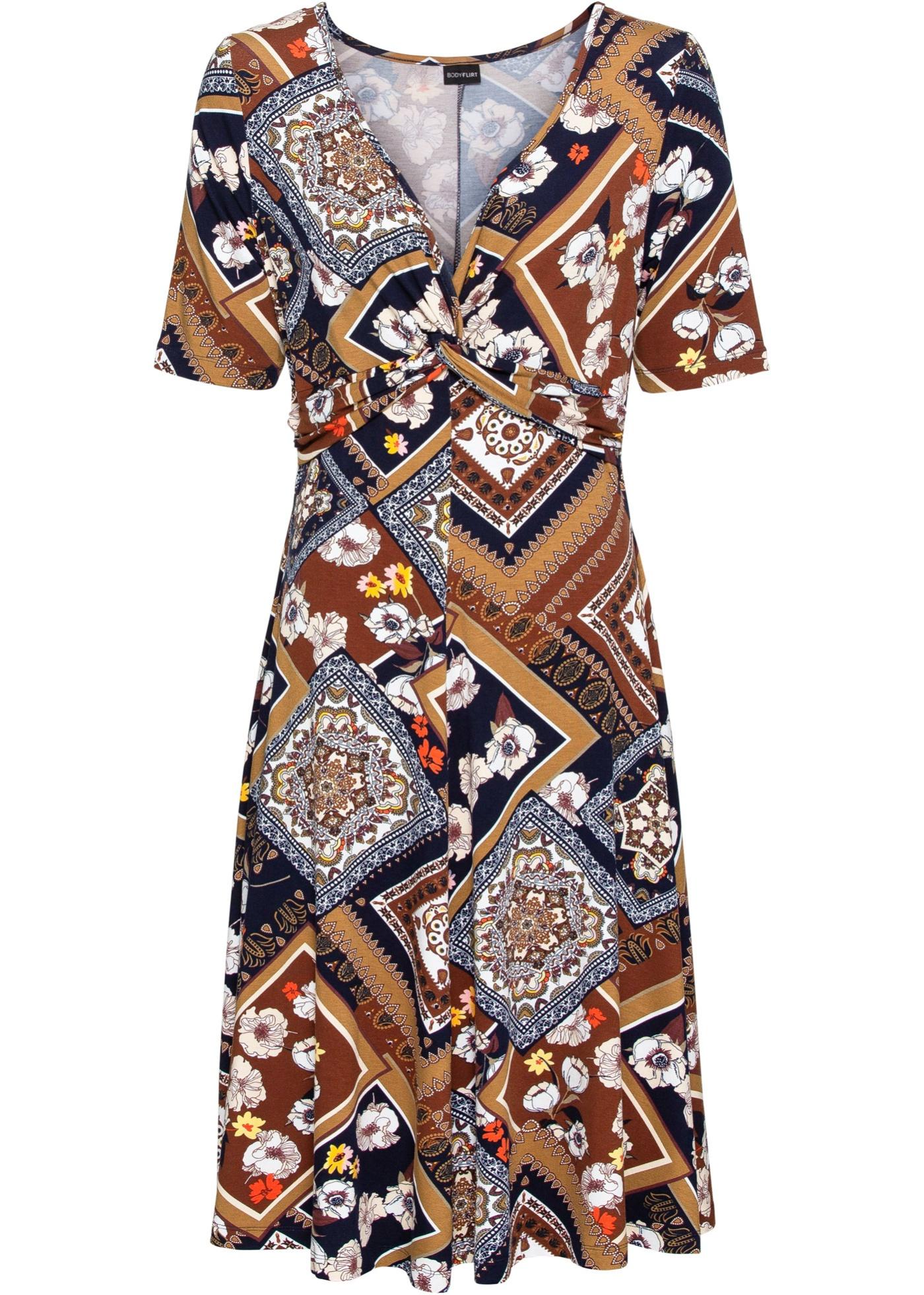 Image of Bedrucktes Jersey-Kleid mit Drapierung