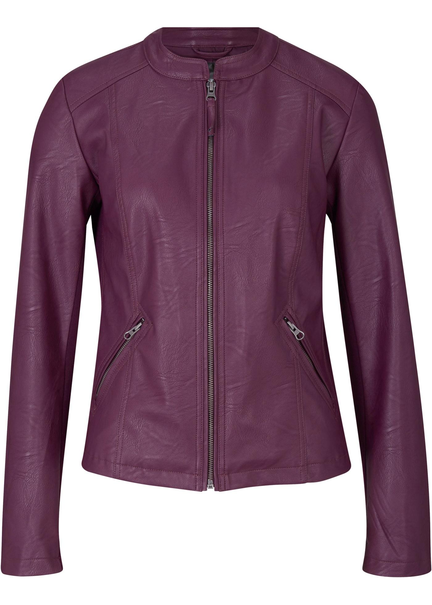 Lederimitat-Jacke mit seitliche Stretcheinsätzen