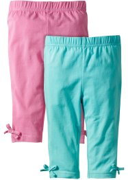 3/4-Leggings (2er-Pack), bpc bonprix collection, aqua/rosa