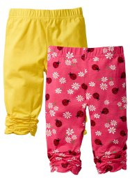 Lot de 2 leggings, bpc bonprix collection, rose clair/coccinelle