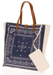 Canvas Shopper mit Ornamenten, bpc bonprix collection, blau/weiss