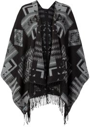 Poncho, bpc bonprix collection, schwarz/grau
