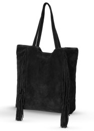 Sac shopper en cuir avec franges, bpc bonprix collection, noir
