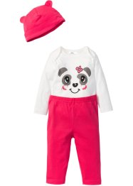 Body bébé à manches longues + pantalon + bonnet (Ens. 3 pces.) en coton bio, bpc bonprix collection