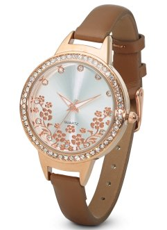Montre à bracelet avec motif floral et strass, bpc bonprix collection