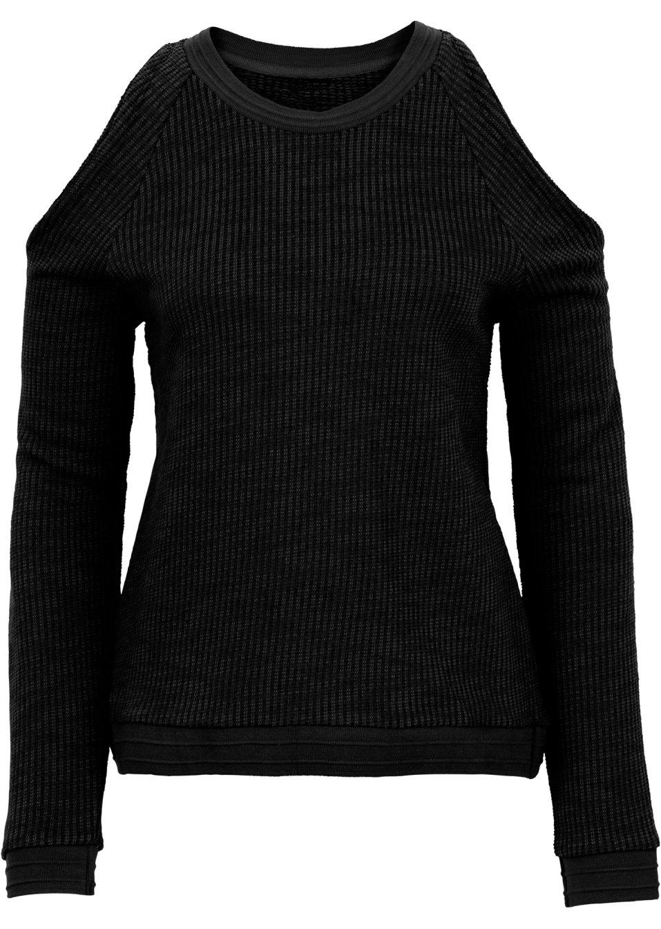 legerer pullover mit cut outs und rippb ndchen schwarz. Black Bedroom Furniture Sets. Home Design Ideas