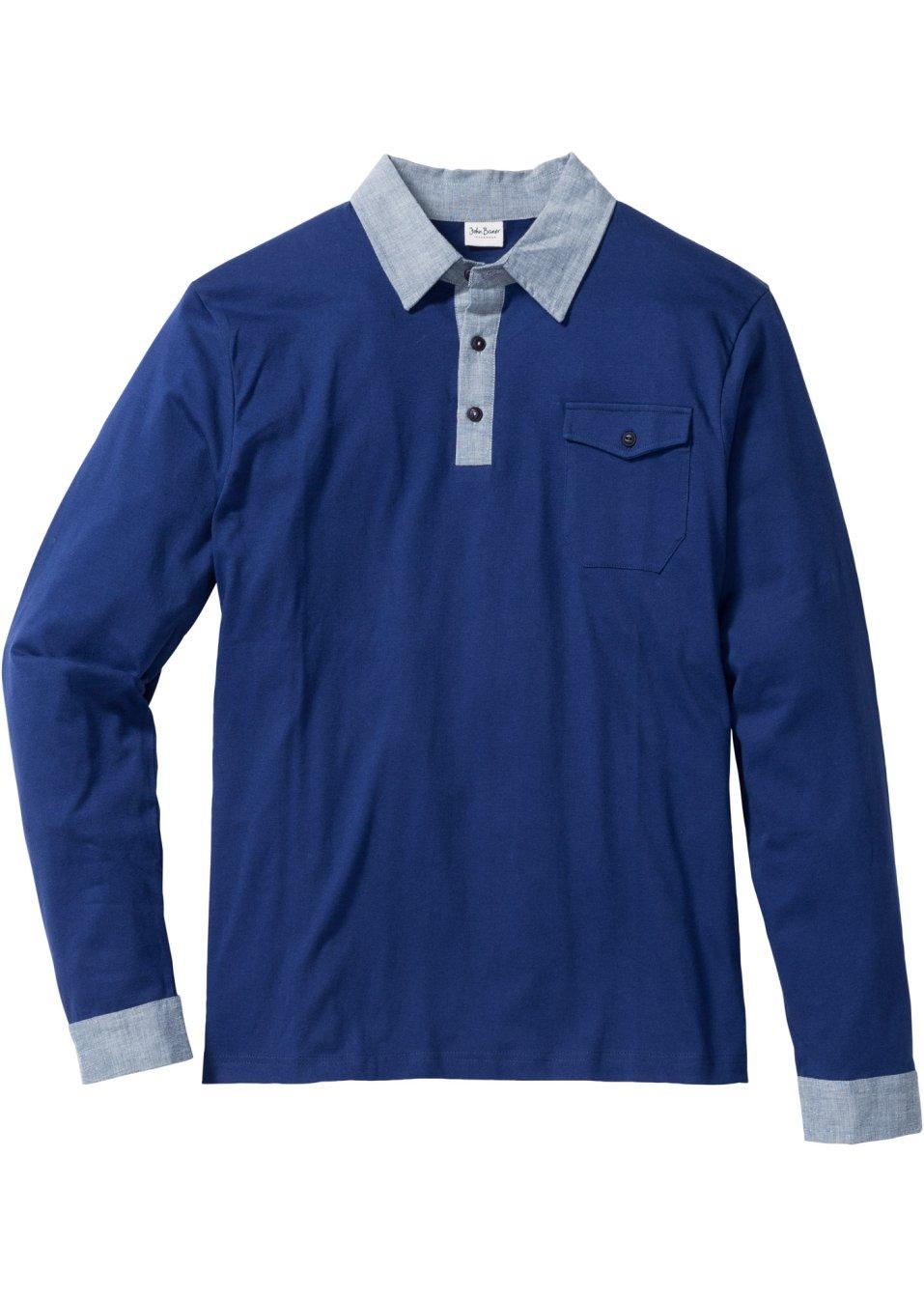 kontraststarkes langarmshirt mit polo kragen und knopfleiste blau. Black Bedroom Furniture Sets. Home Design Ideas